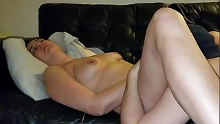 Slutwife makes husband lick her pussy tidy then gets creampie