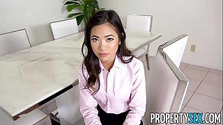 PropertySex - Hot petite Asian real estate agent fucks her boss