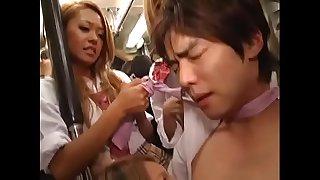Japanese Guy Gropes Girl on Bus and Gets Kneaded Back Reverse Chikan JAV