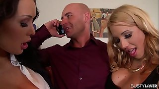 Busty Brunettes Patty Michova & Kyra Hot Fuck Their Boss' Face and Hard-on