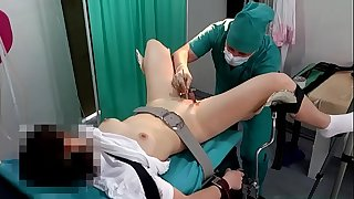 Lady with ponytails on examination at the gynecologist